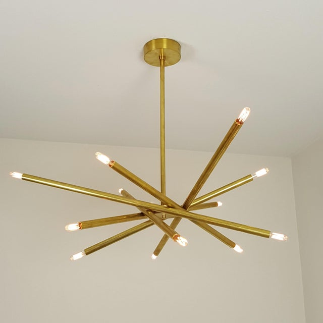 "Model 120 Sculptural Brass ""Nest"" Chandelier by Blueprint Lighting - Image 7 of 13"