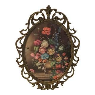 Vintage Italian Metal Framed Floral Oval Print For Sale
