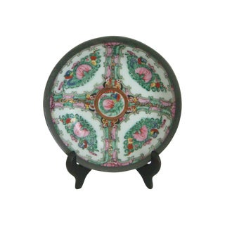 Maas Brothers Chinese Rose Canton Plate & Stand For Sale