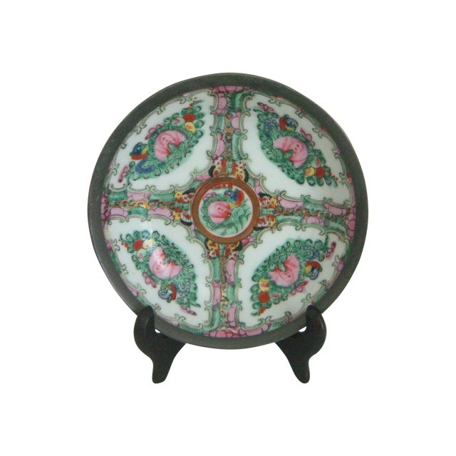 Maas Brothers Chinese Rose Canton Plate & Stand - Image 1 of 8