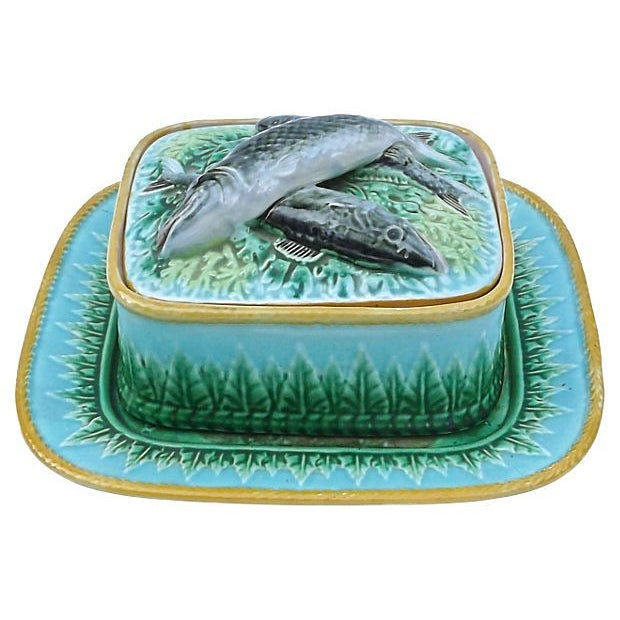 Vintage George Jones Majolica Box & Plate Set - Image 1 of 5