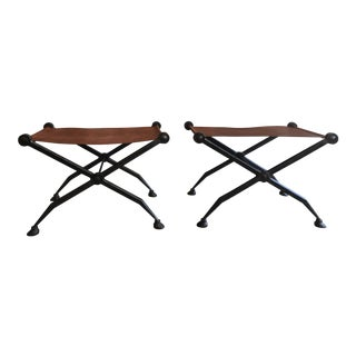 Iron Benches With Saddle Leather Sling Seats - a Pair