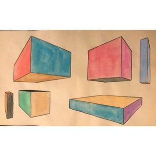 1957 Mid-Century Modern Geometric Shapes Painting by Phyllis Myrick For Sale