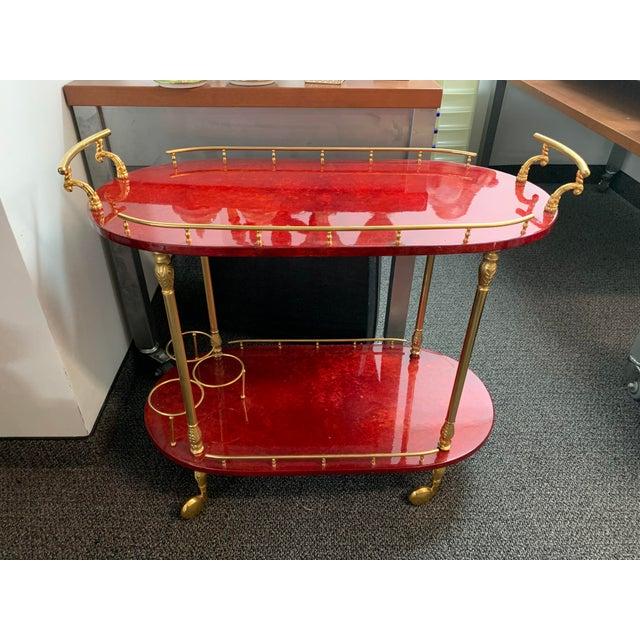 1950's Goatskin Red Aldo Tura Bar Trolley Cart For Sale - Image 13 of 13