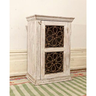 1940s Vintage Distressed Cabinet With Metal Scrollwork Door Preview