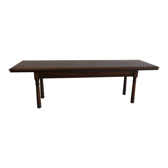 Antique Wood Table With Carved Floral Motif For Sale