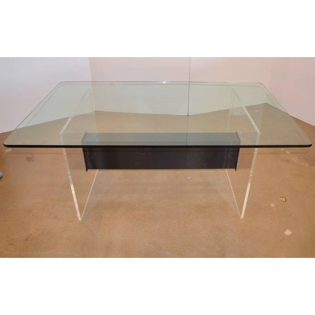 Lucite, Glass and Steel Dining Table or Desk For Sale In Austin - Image 6 of 11