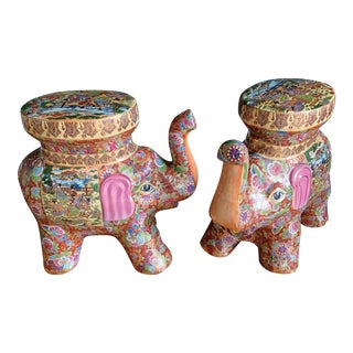 Vintage Hand Painted Ceramic Elephant Garden Stools - a Pair For Sale