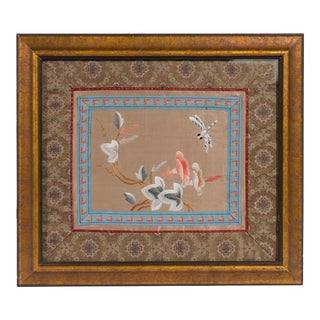 19th Century Framed Chinese Silk Panel For Sale