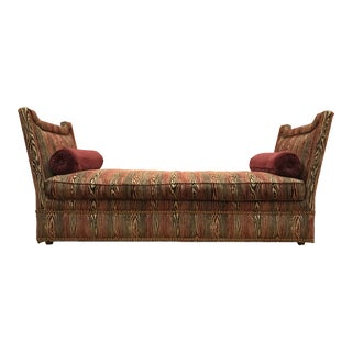 Plunkett Faux Bois Chenille Upholstered Chaise Daybed Sofa For Sale