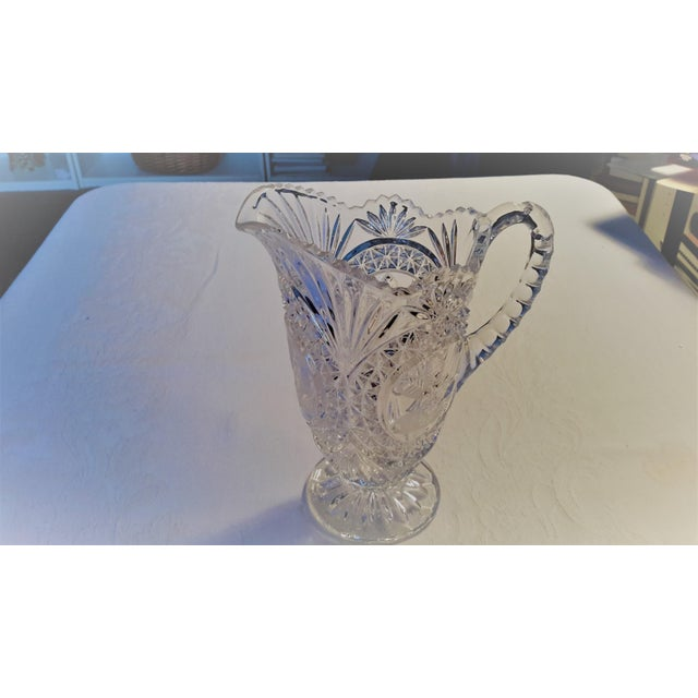 Simply Beautiful Etched Bird Motif Clear Cut Glass Footed Pitcher For Sale - Image 4 of 12