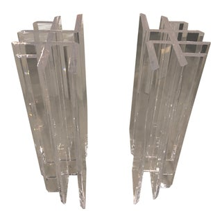 Vintage Hollywood Regency Radiator Lucite Dining Table Desk Base -A Pair For Sale
