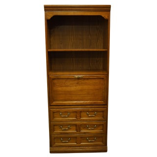 "1970s Traditional Thomasville Furniture Combinations Collection 32"" Drop Front Bookcase Secretary / Wall Unit For Sale"