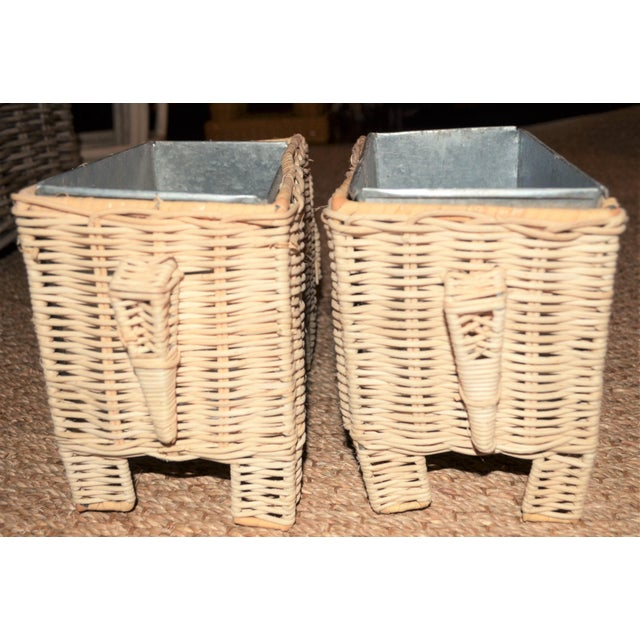 Asian Boho Chic Wicker Elephant Basket Planters - a Pair For Sale - Image 3 of 12