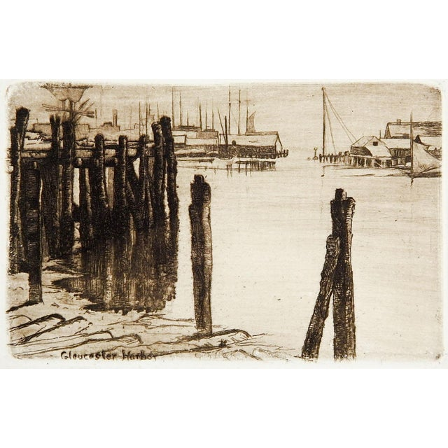 Tiny Etching of Glouchester Harbor - Image 2 of 3