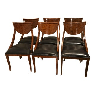 1950s Art Deco Biedermeier Style Leather Seat Dining Room Chairs - Set of 6 For Sale