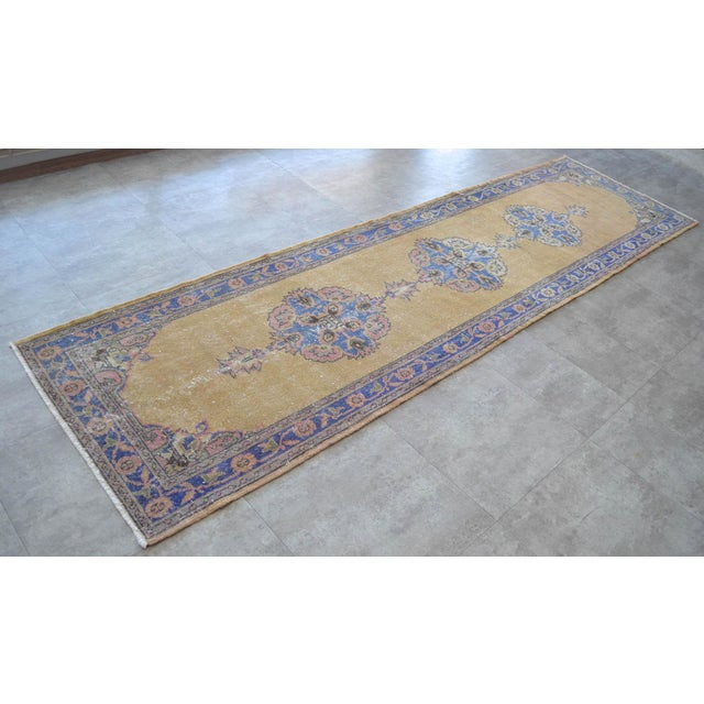 Islamic Traditional Design Distressed Oushak Runner Rug Faded Colors Low Pile - 2'12″ X 10'10″ For Sale - Image 3 of 10
