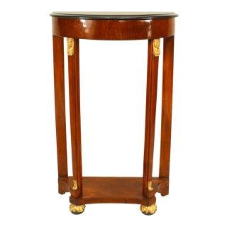 Austrian Biedermeier Mahogany Demilune Console Table For Sale