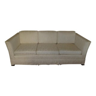 Vintage 70's -80's White Transitional Club Sofa Good Wood Bones Flowing Cream Aged White Zippers Two Sided Cushions
