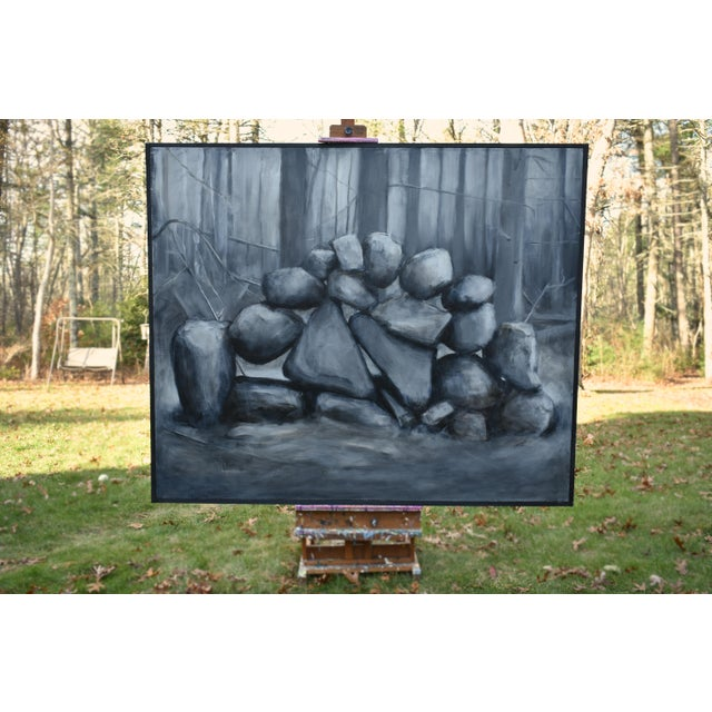 "Contemporary ""Sculptural Stone Wall"", Contemporary Large Painting by Stephen Remick For Sale - Image 3 of 13"
