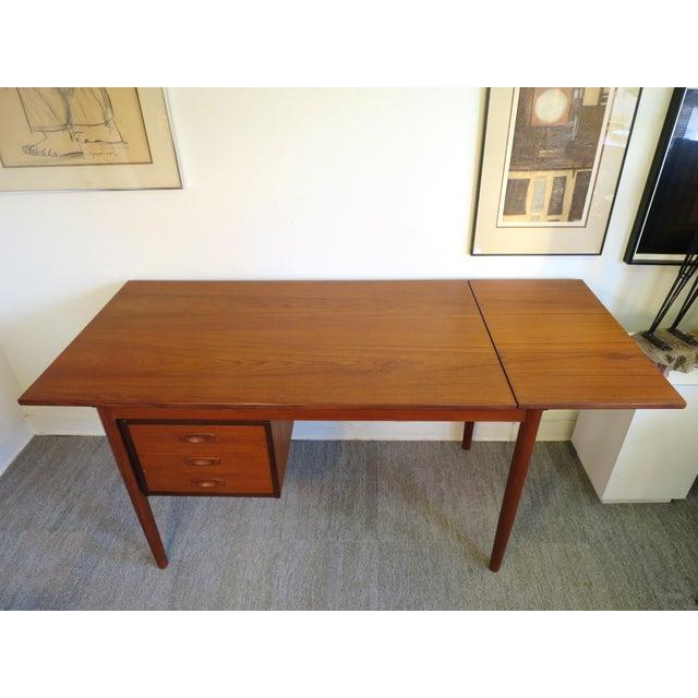 Arne Vodder Danish Modern Drop Leaf Desk in Teak - Image 7 of 9