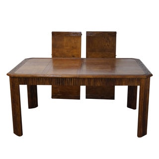 Faux Bamboo Parquet Top Extension Dining Table For Sale