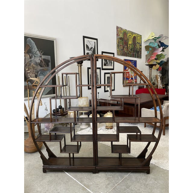 Very stylish 1960s Asian two pieces wood etagere in very good condition. This etagere would perfectly match every...