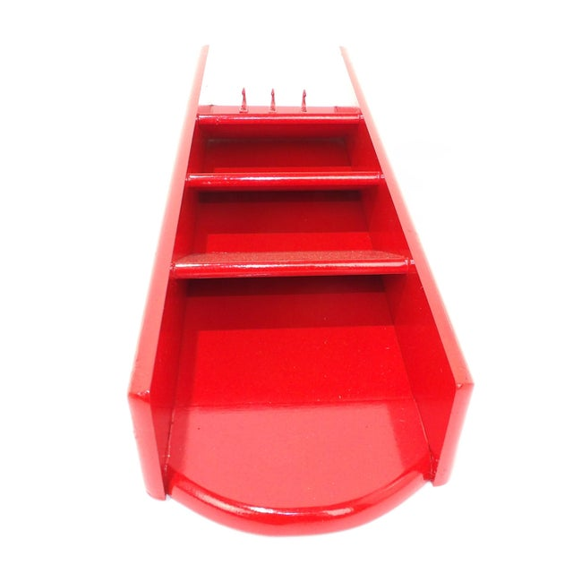 Paint Mid-Century Modern Red Mail Key Slot Organizer For Sale - Image 7 of 11
