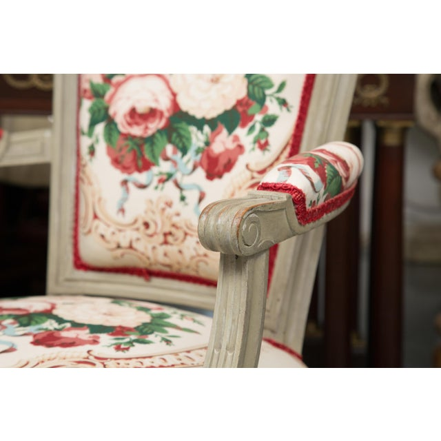 White Louis XVI Style Painted Armchairs - a Pair For Sale - Image 8 of 13