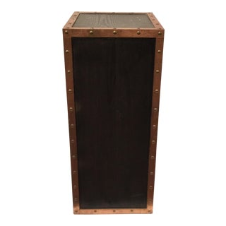 Organic Modern Walnut Stained Pedestal With Studded Copper Trim For Sale