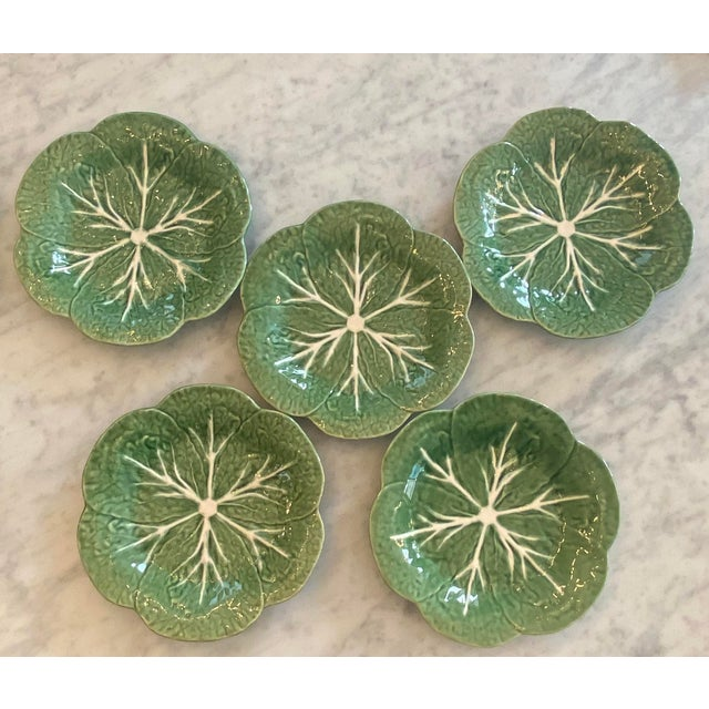 Mid 20th Century Vintage Majolica Green Cabbage Salad Plates by Bordallo Pinheiro - Set of 5 For Sale - Image 5 of 5