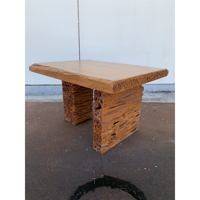 2000 - 2009 Studio Craft Pecky Cypress Table For Sale - Image 5 of 11