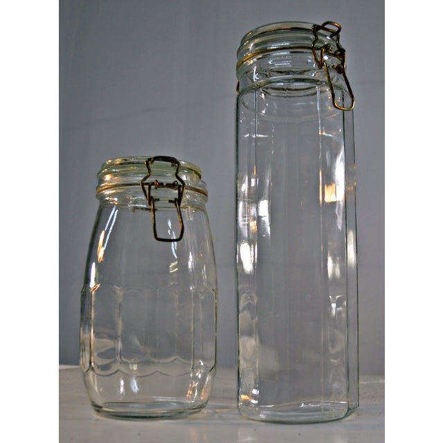 French Country Clear Glass Canisters - A Pair For Sale - Image 3 of 6
