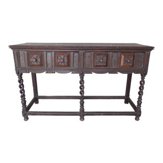 Antique Baroque Renaissance George II Oak Console Dressing Table Server For Sale
