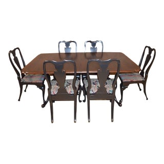 Double Pedestal Queen Anne Style Mahogany Dining Set For Sale