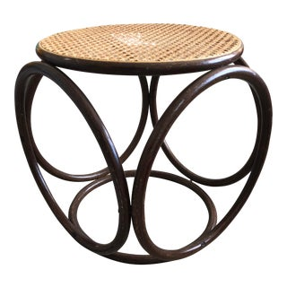 Vintage Mid Century Thonet Style Bentwood & Cane Stool For Sale