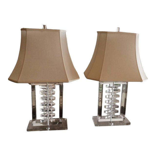 Hollywood Regency Lucite Stacked Table Lamps - a Pair For Sale