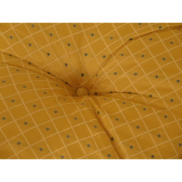 2000 - 2009 Traditional Edward Ferrell Ltd Round Tufted Yellow Ottoman For Sale - Image 5 of 7