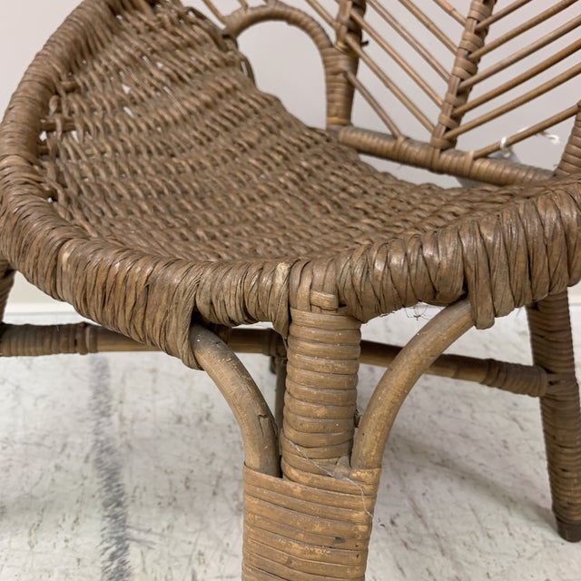 1920s Folk Art Wicker Child's Barrel Chair For Sale - Image 10 of 12