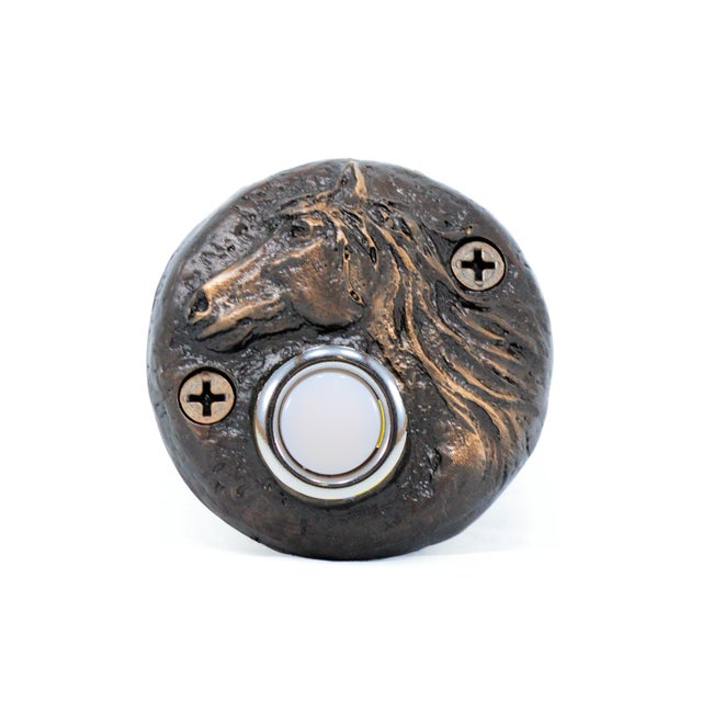 Round Horse Doorbell, Traditional Patina For Sale - Image 4 of 4