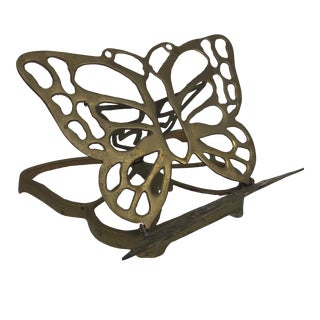 Vintage Brass Butterfly Adjustable Book Stand Holder For Sale