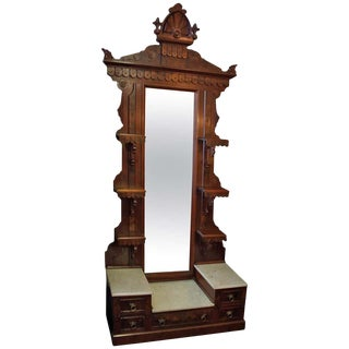 19th Century Victorian Burled Walnut Étagère With Mirror For Sale
