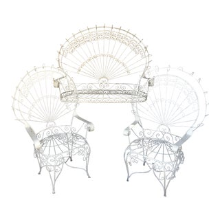 Vintage Boho Chic Wrought IronPeacock Patio Set - Set of 3 For Sale