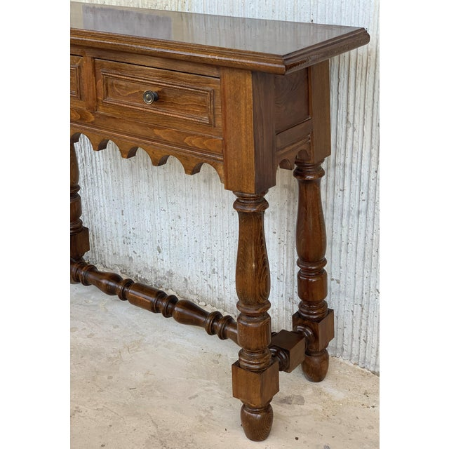 Wood 19th Spanish Walnut Console Table With Two Drawers For Sale - Image 7 of 12