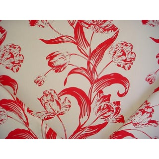 Traditional Andrew Martin Sugartwist Red Floral Canvas Cotton Print Upholstery Fabric - 3-1/2y For Sale