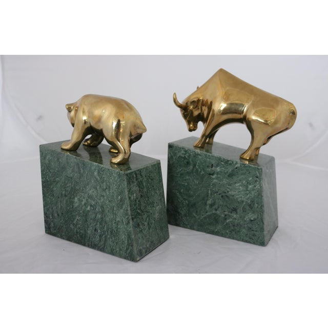 Contemporary Brass Bull & Bear on Marble Bookends - Image 5 of 7