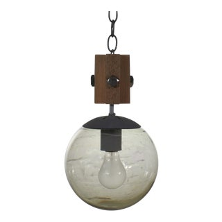 Mid Century Modern Nos Wood & Smoked Glass Globe Pendant Light Black Chain For Sale