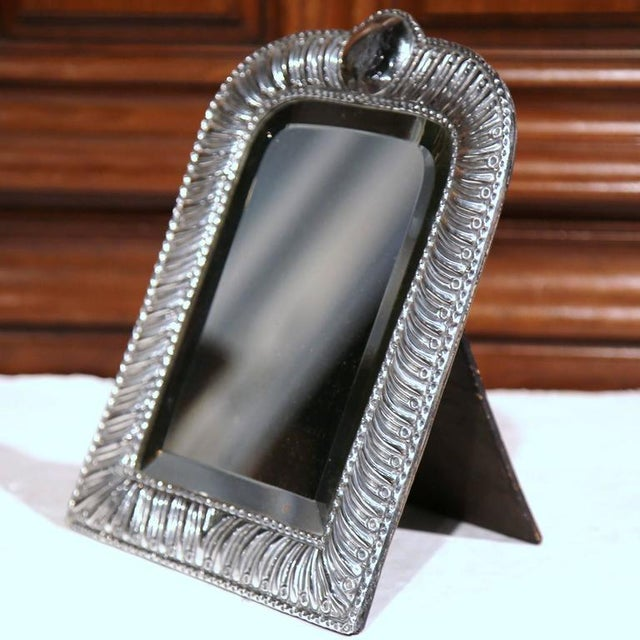 French 19th Century French Repousse Silver Table Frame With Beveled Glass For Sale - Image 3 of 10