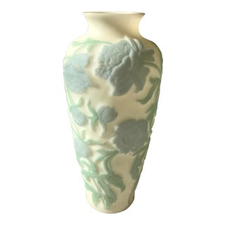 Mid-Century Hand Painted Milk Glass Peony Vase For Sale