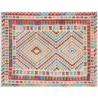 "Nalbandian - Contemporary Afghan Maimana Kilim - 5'2"" X 6'7"" For Sale"